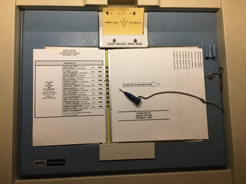 photo courtesy of alum Michael Sanderson A punchcard ballot from Sarasota county in 2000.