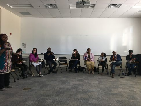 From left to right: Professor of Sociology Queen Zabriskie, Rebecca Li Grady, Rachel Lu, Wesley Jones, Catherine Randazzo, Alice Gatling, Deysha Nelson, Warren Jackson, Tanisha Butt.