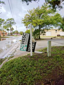 A Humane Society sign almost blown away by Hurricane Irma. Photo courtesy of Nalani Simpson.