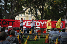 """""""Your burgers may be square but your food ain't fair:"""" Hundreds of students, farmworkers and consumers take to the streets in a national boycott of Wendy's"""