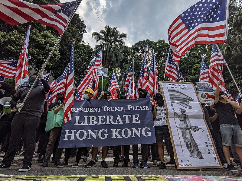 Hongkongers celebrate the passing of the Human Rights and Democracy Act with Thanksgiving Day rally